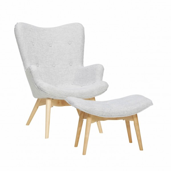 Birch Recliner with Footstool Scandinavian Furniture