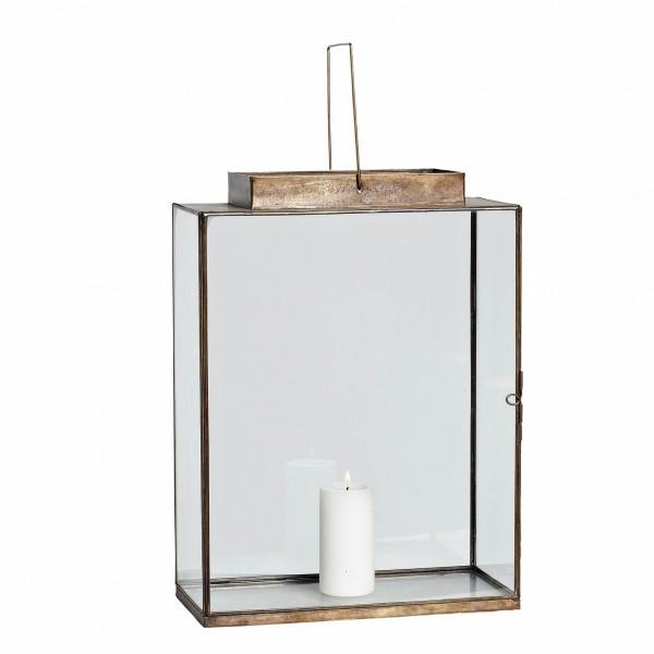 Lantern square brass large Hurricane Lamp