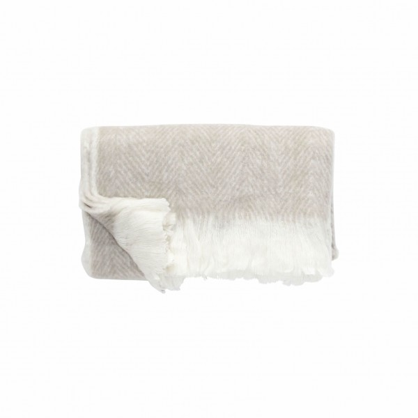 PLAID ACRYLIC WOOL BEIGE WHITE Scandinavian Blanket