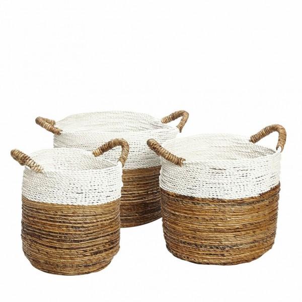 SET OF 3 BASKETS WHITE EDGE Scandinavian Style Baskets