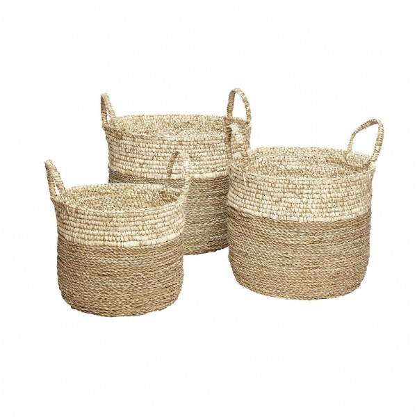 SET OF 3 BASKETS WHITE SEAGRASS