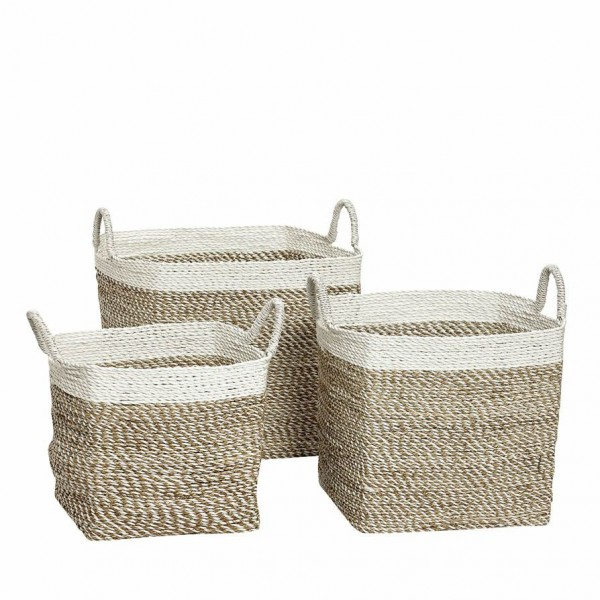 SET OF 3 BASKETS  WITH WHITE SEAGRASS Baskets