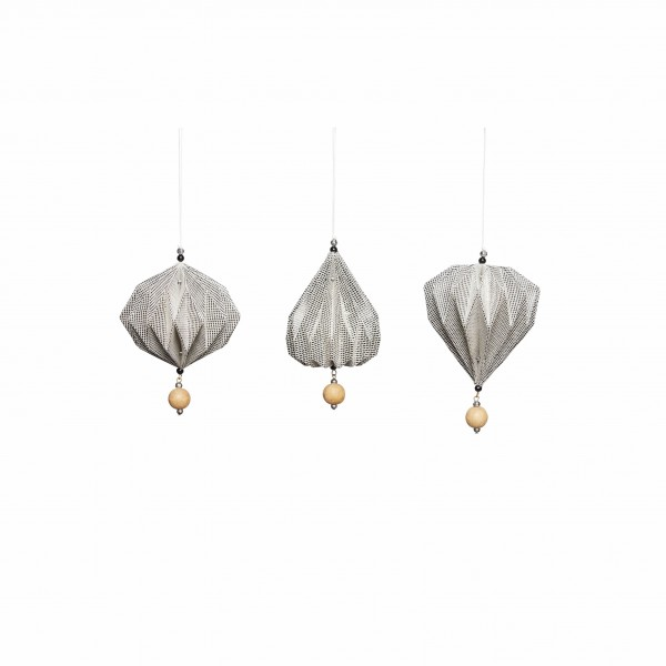 SET OF 3 CHRISTMAS ORNAMENTS HAND FOLDED GREY