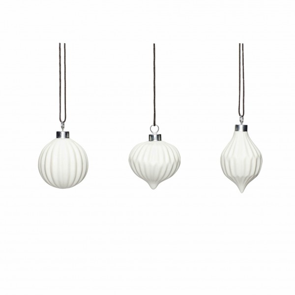 Set of 3 Christmas White Ceramic Baubles