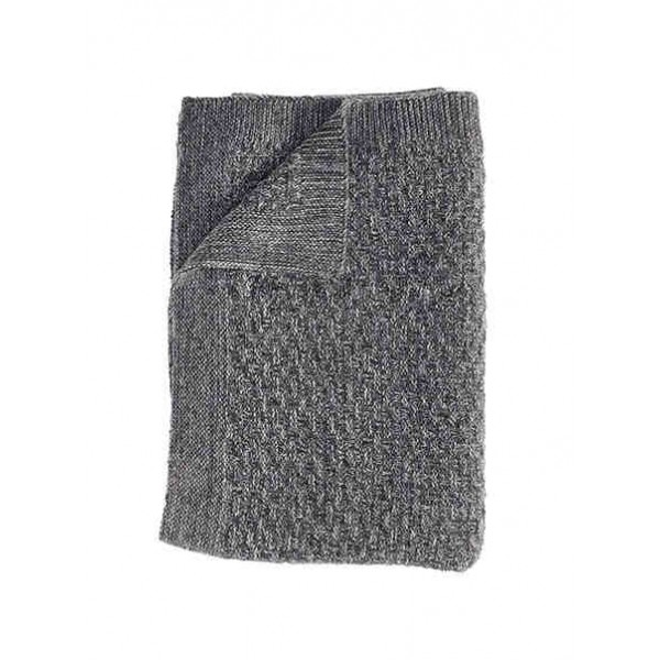 Knitted Dark Grey Lambswool Throw Danish Blanket