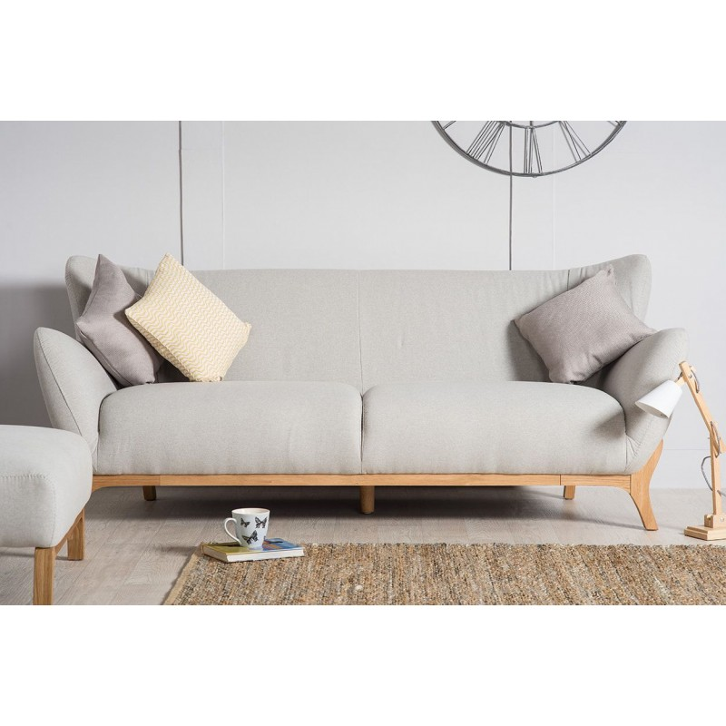 Scandinavian Style Furniture Wesley 3 Seater Sofa Light Grey