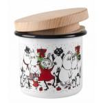 ENAMEL JAR WITH WOODEN LID - Christmas Tableware